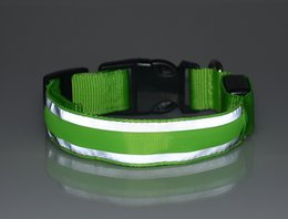 Wholesale Newest Led Stripe Reflective Glow Pet Dog Collar Led Flashing Light Up Night Safety Dog Cat Collars GL