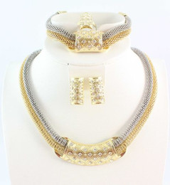 African Jewelry Sets Necklace Bracelet Ring Earring Fashion Dubai Gold Plated Filled Crystal 2 Chain Jewelry