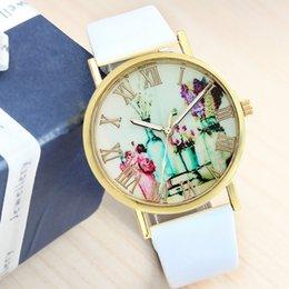 Wholesale Stylish Flower Oil Paiting Quartz Wristwatch Women Dress Watches Synthetic Leather Vine Watch Y2
