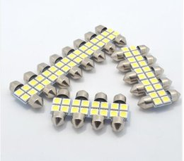 À double lampe de lecture en Ligne-100PCS 31MM 4SMD 5050 LED C5W Festoon dôme ampoule xénon blanc double pointé la lumière de lecture voiture léger conduit feston vente en gros