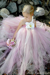 Cute Cheap Flower Girl Dresse Tutu Dress One Shoudler A Line Kids Back Open Back Pink and White Communion Gowns