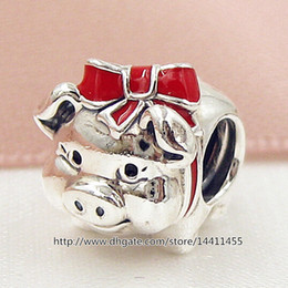 New 2016 Valentine Day 925 Sterling Silver Piggy Bank Charm Bead with Red Enamel Fits European Jewelry Bracelets & Necklace
