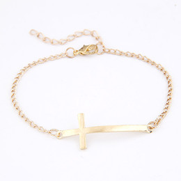 2015 Fashion Korean Simple Gold Plating Cute Cross Bracelet