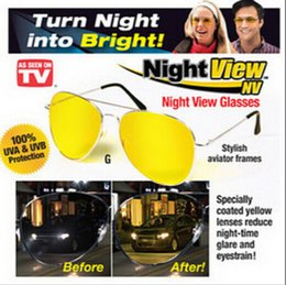 Wholesale Top UV400 TV HD Night View NV Glasses night vision Glasses prevent glare noctilucent driving Polarized sunglasses TV