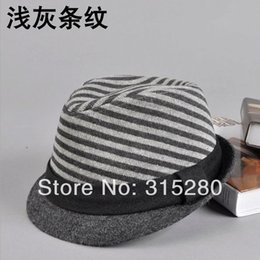 Wholesale-women and men winter popular top quality woolen knitted striped fedora hats