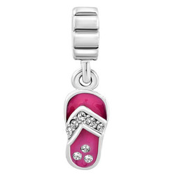 enamel Rhodium Plating crystal Summer Beach Sandal Dangle charm European fit Pandora Chamilia Biagi charm bracelet