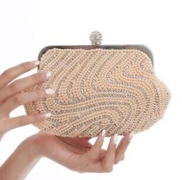 Wholesale-Women's Shell Pearl Beads Clutch bag Beaded Boutique Bag Rhinestone Evening Bag Handbag Full Side Beading Clutch Purse