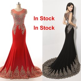 2019 Luxury Formal Evening Prom Party Dresses Red Black Mermaid Sheer Neck Crystal Beads Celebrity Mother Gowns Real Image Arabic