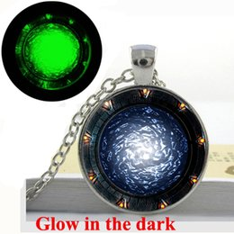 Wholesale GL Glow in the dark Necklace Pendant Star gates Portal SG1 Necklace Art Print Glass Dome glowing jewelry Fashion for girl