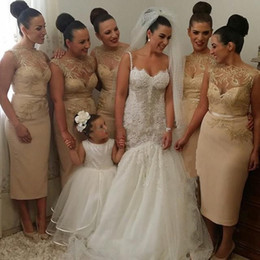 2019 new design hot sale Cheap Bridesmaid Dresses Prom Party Gown Illusion Neckline Designer Champagne Tea Length