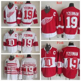 Factory Outlet, High Quality Mens Detroit Red Wings Jerseys #19 Steve Yzerman Winter Classic CCM Vintage Ice Hockey Jersey,Accept Customized
