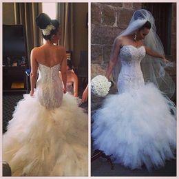 Gorgeous Lace Applique Mermaid Lace Wedding Dresses Cascading Ruffle Sexy Bridal Gowns No Sleeve Vestidos De Novia Plus Size Organza Chic
