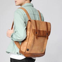 Wholesale 2015 Men Leather Backpacks Black Schoolbag For Teenagers Male College Laptop Bookbags Outdoor Hiking Travel Bag Mochilas Bolsas