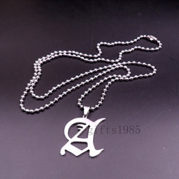 NEW design letter A fashion pendant charm stainless steel silver necklace