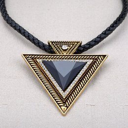 Vintage Triangle Necklace Leather Chain Pendant Choker Women New Stylish Bohemia