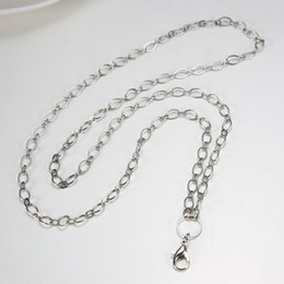 floating locket chain women's White gold color lobster 80cm rolo chain necklace for floating glass locket xmas mother