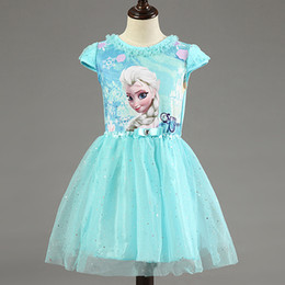 Wholesale Girl Dress Summer Brand Toddler Girls Clothes Lace Sequins Princess Anna Elsa Dress Snow Queen Halloween Party Role play Costume