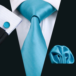 Classic Business Solid Blue Mens Silk Tie Pocket Square Cufflinks Neck Tie Set Jacquard Woven Formal Work Meeting Leisure N-0800