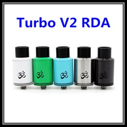 Wholesale 2015 Colorful Turbo V2 RDA Atomizer with Turbine Wheel Negative Square Posts In Black SS White Green Blue Colors Vapor Tank