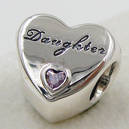 2015 New 925 Sterling Silver Daughter's Love Charm Pendant Bead with Pink Cz Fits European Pandora Style Jewelry Bracelets & Necklace