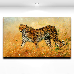 Wholesale Cool African Wild Leopard Animal Picture Oil Painting Printed on Canvas Modern Mural Art for Home Living Room Wall Decor