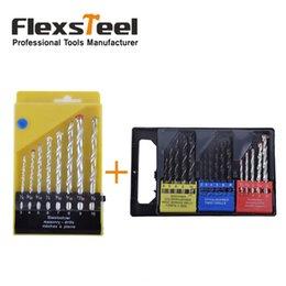 Forets en métal à vendre-Flexsteel 16PCS Twist bois maçonnerie combinaison de métaux Broche Kit Brocas Kit + 8pcs HSS maçonnerie roche béton foret Bits Set