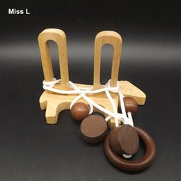 Fun Little Dog Rope Puzzles Solution IQ Mind Brain Game 3D Wooden String Rope Puzzle Toy For Children
