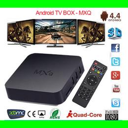 Wholesale USA STOCK Android TV Box MXQ Amlogic S805 Quad Core hd media player G G HDMI OTG USB RJ45 H HEVC P XBMC Smart TV BOX