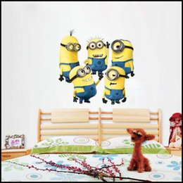 Wholesale 2015 cartoon despicable me Minions wall stickers D wallpapers wall decals children removable wallpaper for kids room J062501