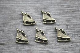 Wholesale 30pcs Ice Skate Charms Antique Tibetan bronze Tone Tiny Roller skates charm pendants x12mm