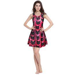 Descuento fondos de verano la falda del chaleco de color rojo de fondo fondo negro negro 3D impreso vestido de moda atractivo del verano de los modelos de explosión al por mayor del comercio exterior