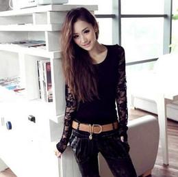 New Fashion Women Lace Long Sleeve T Shirt Casual Tees Sexy Crochet Women Tops Plus Size O Neck T Shirt