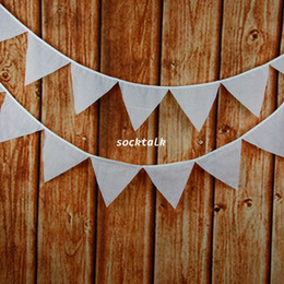 12 Flags 3.2M Plain White Cotton Fabric Banners Personality Wedding Bunting Decor Red Vintage Party Birthday Baby Shower Garland Decoration