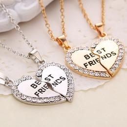 2018 New broken heart necklaces Fashion 2 part rhinestone crystal Best Friends Necklaces & Pendants jewelry best gift for Friends ZJ-0903207