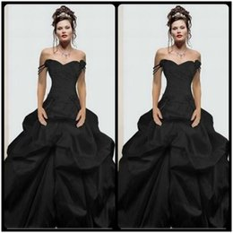 Off The Shoulder Sexy Black Wedding Dresses Ball Gown Ruffles Taffeta Bridal Gown Wedding Dress vestidos de noiva Custom Made