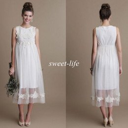 Vintage Short Maternity Wedding Dresses Tea Length Tulle Lace Bateau Sleeveless Empire Waist 2019 Cheap Beach Wedding Party Bridal Gowns