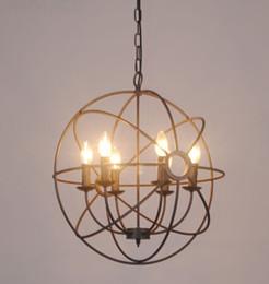 Vintage industry Lighting Pendant Lamp FOUCAULT IRON ORB CHANDELIER RUSTIC IRON Loft light gyro American country style diameter 50cm 65cm