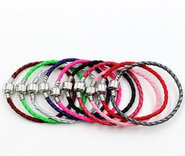 Wholesale new Colors New Single silver Leather Bracelets Chains cm cm cm Fit European Charm Beads