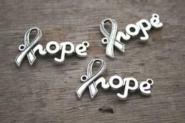 Wholesale 12pcs Hope charms Antique Tibetan silver Cancer Ribbon hope Charm Connectors x23mm