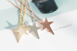 2018 fashionable gold-plated silver plating rose gold pentagram plane drawing pendant necklace in the wholesale sale free shipping