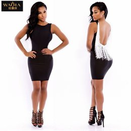 Wholesale New European and American Women Sexy Tassel Dress Sleevelee Leak Back Summer Fashion Dresses Size S L