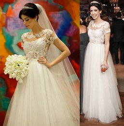 2016 Sexy Backless See through Wedding Dresses Pearls Beads Tule Lace Illusion Bridal Gown Jewel A-Line Wedding Dress Short Sleeve