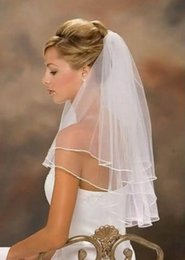 In Stock Hot Sale White Bridal Veils With Comb 2 Layers Edge Tulle Short Wedding Veil Free Shipping