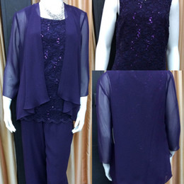 Purple Lace Chiffon Mother Of The Bride Pant Suits 2019 Summer Long Sleeve Beads Cheap Mother Pant Suits Cheap Plus Size