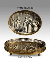Wholesale Ceramics with copper home accessories crafts Villa Club Luxury soft mounted copper tray compote Continental