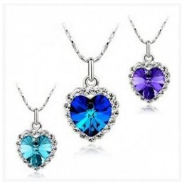 Wholesale Austrian crystal necklace Heart of Ocean Inlaid Rhinestone pendant jewelry female models temperament style SKU A016