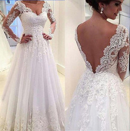 Real Image Long Sleeve Lace Wedding Dresses 2015 White Illusion Sheer Applique V-Neck Sheer A-line Chapel Train Bridal Dresses Ball Gowns