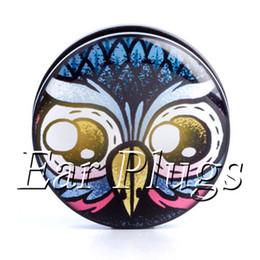 Wholesale ear gauges 60pcs bag Old School Owl ear plug gauges tunnel ear expander ASP0505