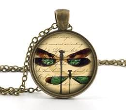 Wholesale 10pcs Dragonfly Pendant Vintage Bronze Necklace Green Dragonfly Necklace Picture Jewelry Bronze Necklace Photo Pendant