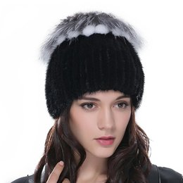 Winter Fur Hats for Women Real mink Fur Hat with Fox Fur Flower Top Multicolor Knitted Beanies Female Fur Caps Stripe Knitted Skullies